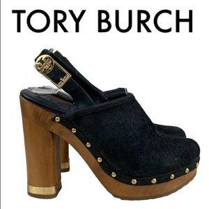 TORY BURCH BLACK TAN GOLD CLOG HEELS SIZE 5.5 M